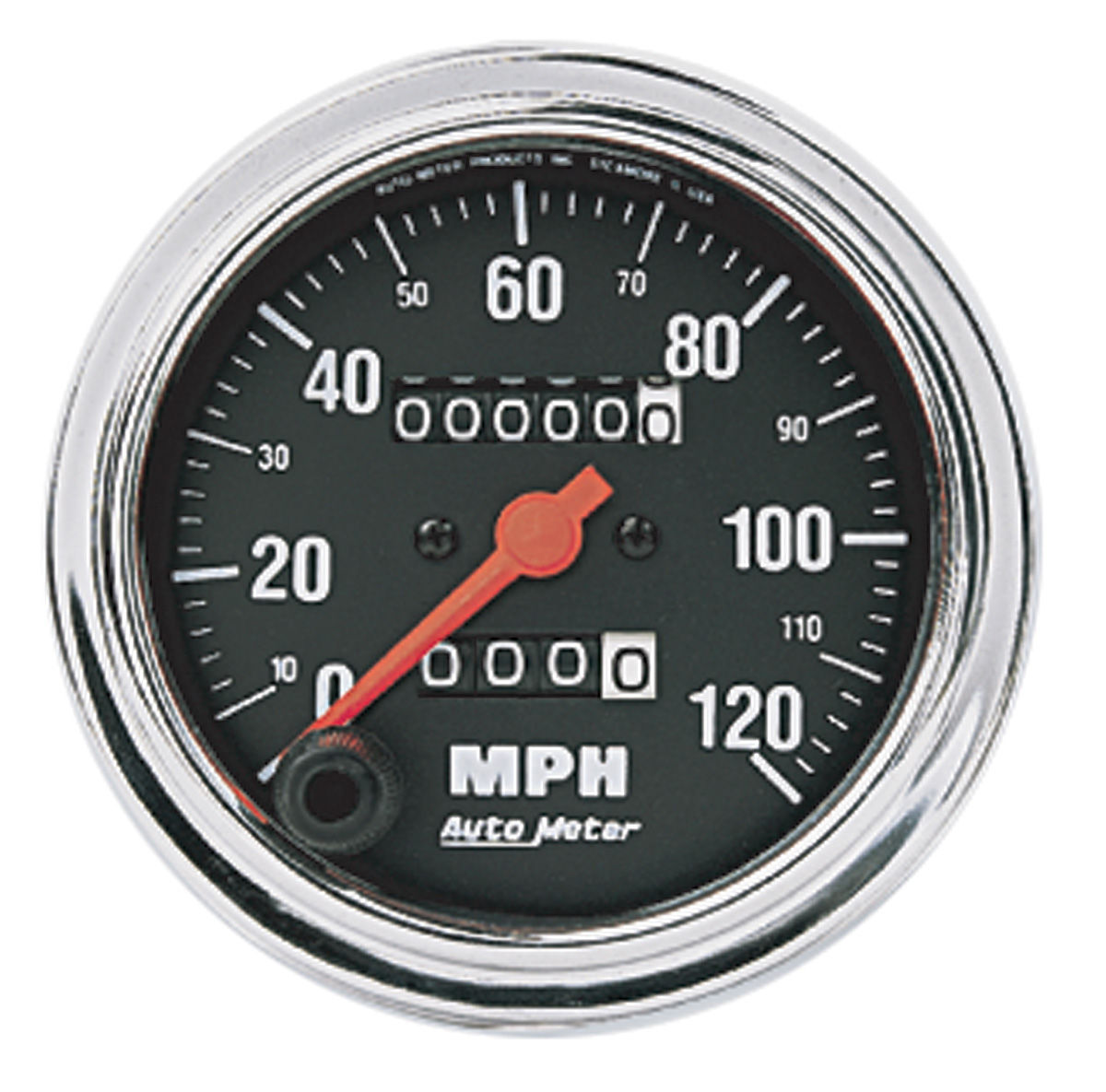 "Photo of Speedometer, Traditional Chrome Series 3-3/8"" (120 MPH)"