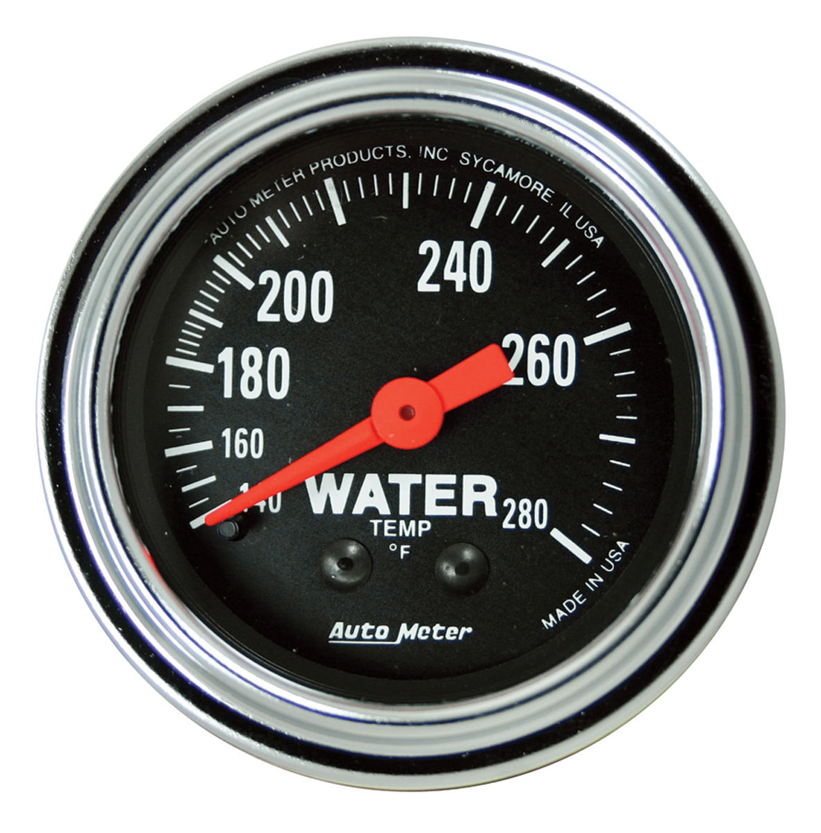 "Photo of Gauge, 2-1/16"" Chrome Series Mechanical water temp. (140-280°F) 6-ft."