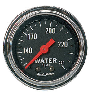 "Gauge, 2-1/16"" Chrome Series Mechanical Water Temperature (120-240) 6-Ft., by Autometer"