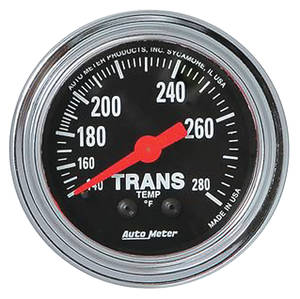 "Gauge, 2-1/16"" Chrome Series Mechanical Transmission Temp. (140-280) 8-Ft., by Autometer"