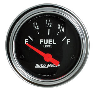 "1961-1977 Cutlass Gauge, 2-1/16"" Chrome Series Electrical Fuel Level (0-90), by Autometer"