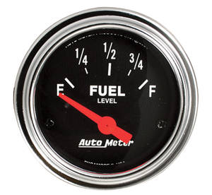 "Gauge, 2-1/16"" Chrome Series Electrical Fuel Level (0-30), by Autometer"