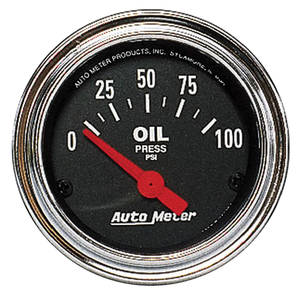 "Gauge, 2-1/16"" Chrome Series Electrical Oil Pressure (0-100), by Autometer"