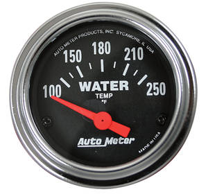 "Gauge, 2-1/16"" Chrome Series Electrical Water Temp (100-250F), by Autometer"