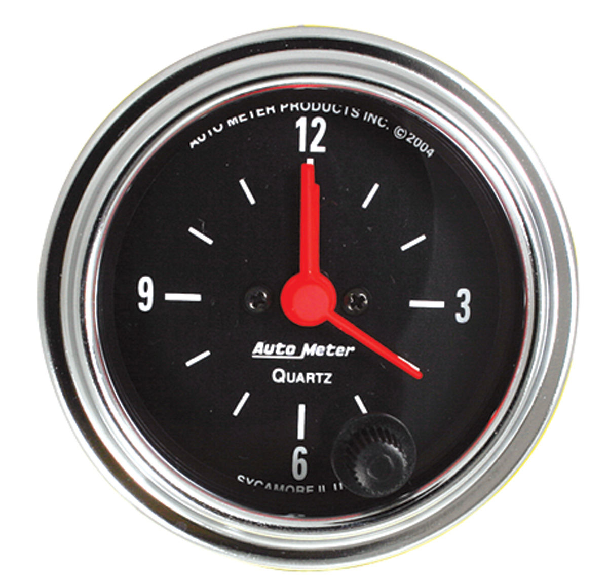 "Photo of Gauge, 2-1/16"" Chrome Series Clock quartz movement"