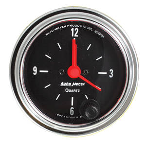 "1964-1977 Chevelle Gauge, 2-1/16"" Chrome Series Clock Quartz Movement, by Autometer"