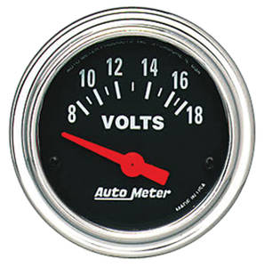 "Gauge, 2-1/16"" Chrome Series Electrical Voltmeter (8-18 Volts)"