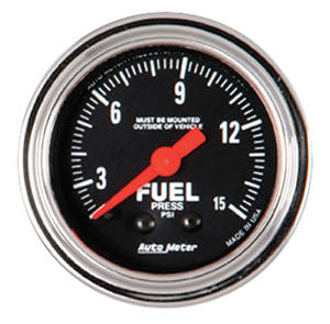 "Gauge, 2-1/16"" Chrome Series Mechanical Fuel Pressure (0-15 Psi), by Autometer"
