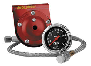 "Gauge, 2-1/16"" Chrome Series Mechanical Fuel Pressure w/Isolator (0-15 Psi)"