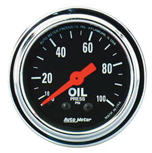 "Gauge, 2-1/16"" Chrome Series Mechanical Oil Pressure (0-100 Psi), by Autometer"