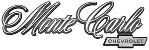 "1976-1977 Monte Carlo Rear Panel Emblem, 1976-77 ""Monte Carlo"", by TRIM PARTS"