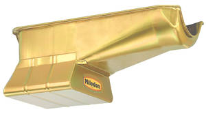 1978-1979 El Camino Oil Pan, Low Profile (Small-Block) LH Dipstick, Gold, by MILODON
