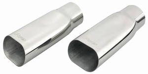 "1970-1972 Monte Carlo Exhaust Tips, Stainless Steel (Oval) 2-1/2"", by Pypes"