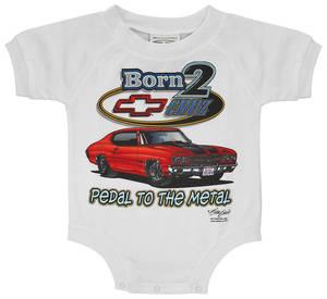 1964-77 Chevelle Born 2 Cruz Kids T-Shirt & Snap-Up Onesie Onesie (24-Month), by Hot Rods Plus