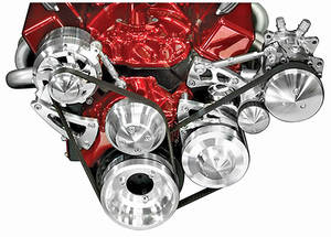 1969-77 Chevelle Serpentine Conversion Set, Long Water Pump Small-Block High Water Flow (Increases Cooling) w/AC, w/Keyway, by March Performance