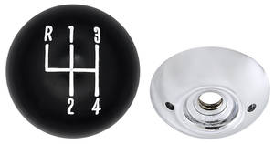 "1964-72 El Camino Shifter Ball, 4-Speed 2-Piece, Black/Chrome, 3/8"""