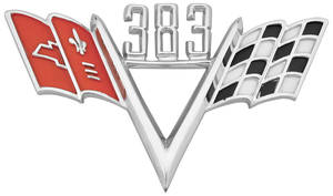 1964-1977 Chevelle Fender Emblem, V-Flags 383