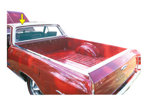 1964-1967 El Camino Window Molding, Rear (Upper Cab Surrounding Window) Top Left of Cab