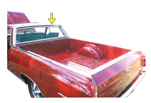 1964-67 El Camino Window Molding, Rear (Upper Cab Surrounding Window) Top Right of Cab