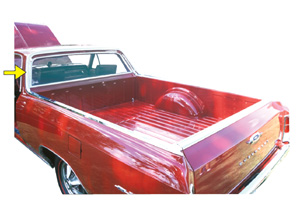 1964-67 El Camino Window Molding, Rear (Upper Cab Surrounding Window) Left Side of Cab