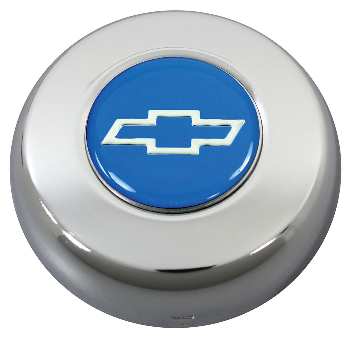 Photo of Horn Button, Classic Series silver Bowtie on blue
