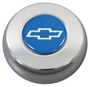 1978-88 Malibu Horn Button, Classic Series Silver Bowtie on Blue
