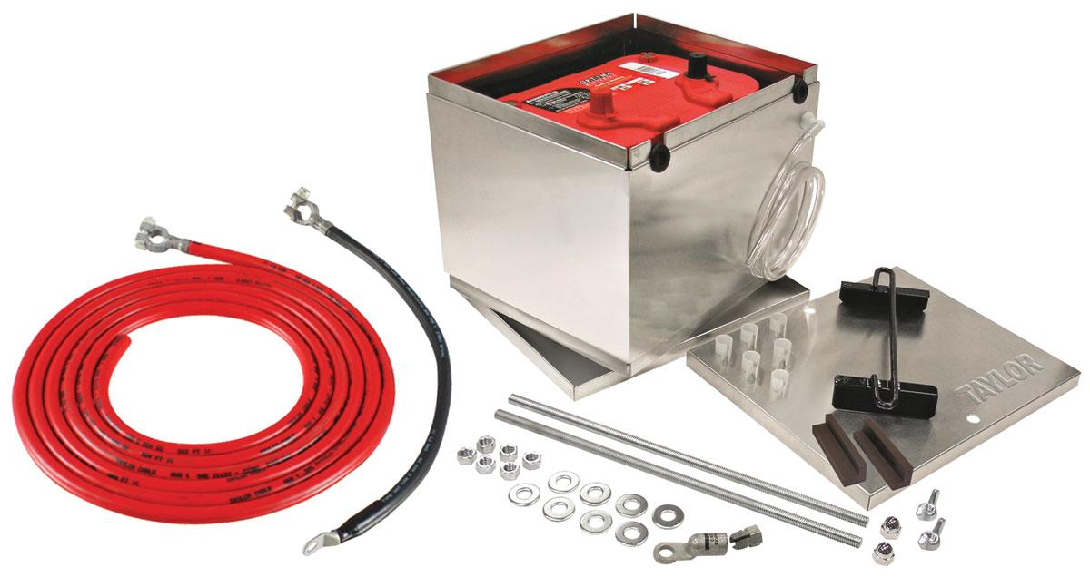 "Photo of Battery Box Kit, Aluminum 11-1/4"" X 9-1/2"" X 8-3/4"" Box W/Logo w/16' 2-gauge cables"