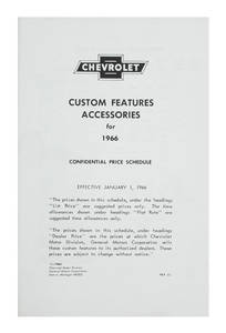 1966 Chevelle Chevrolet Accessory Listings & Price Schedule