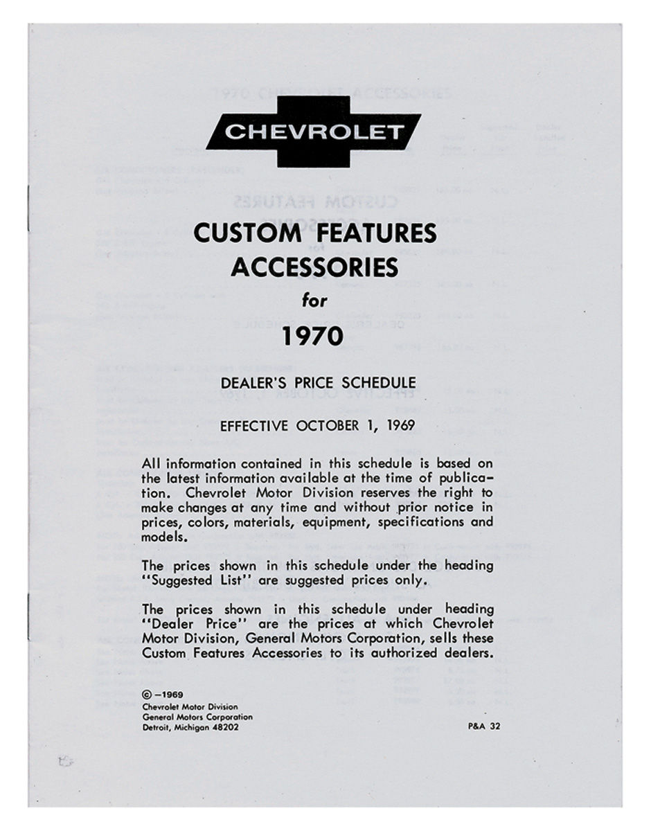 Photo of Chevrolet Accessory Listings & Price Schedule