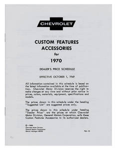 1969 El Camino Chevrolet Accessory Listings & Price Schedule
