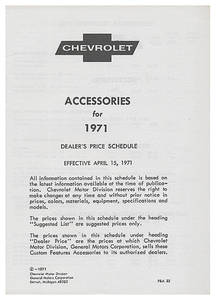 1971 El Camino Chevrolet Accessory Listings & Price Schedule