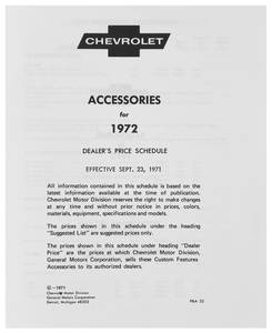 1972 Chevelle Chevrolet Accessory Listings & Price Schedule