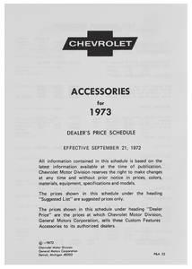 1973 Chevelle Chevrolet Accessory Listings & Price Schedule
