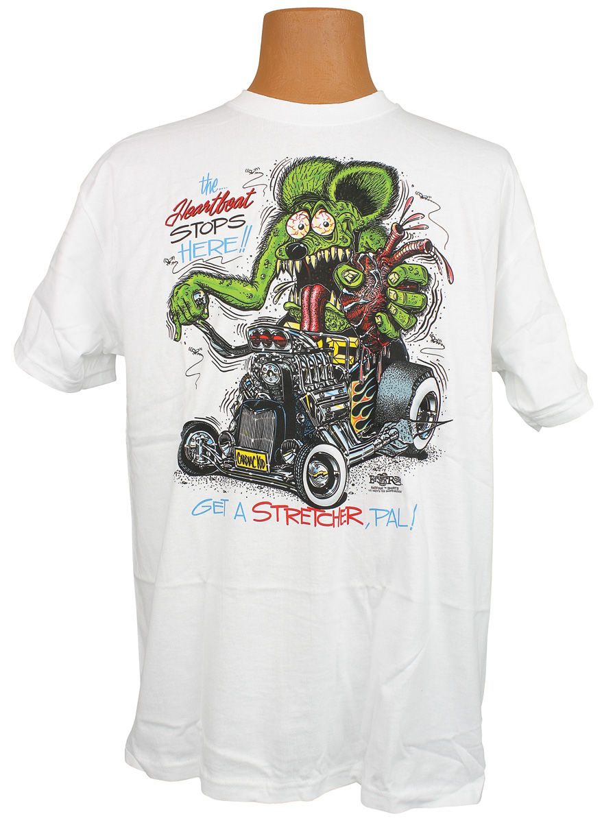"Photo of Rat Fink T-Shirt ""The Heartbeat Stops Here!! Get The Stretcher, Pal!"""