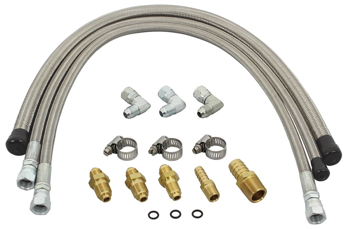 Stainless Power Steering Lines : Flaming river monte carlo power steering hose kit