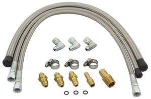 1968-72 Chevelle Power Hose Kit For Rack & Pinion Steering Kits Braided Stainless, by Flaming River
