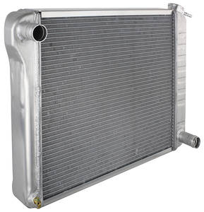 "1964-67 Skylark Radiator, Aluminum Desert Cooler 300 V8 15-1/2"" X 25-1/2"" MT, Polished, Downflow (Passenger Upper/Lower Hose), by U.S. Radiator"