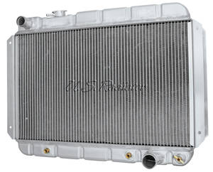 1964-1967 El Camino Radiator, Aluminum Desert Cooler Satin AT, Down Flow, Driver Inlet, by U.S. Radiator
