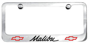 1964-77 License Plate Frame, Designer Malibu (Script) w/Bowtie