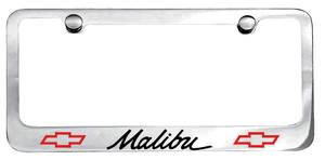 License Plate Frame, Designer Malibu (Script) w/Bowtie