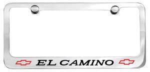 1966 License Plate Frame, Designer El Camino W/Bowtie