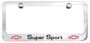 1964-1977 El Camino License Plate Frame, Designer Super Sport (Block) w/Bowtie