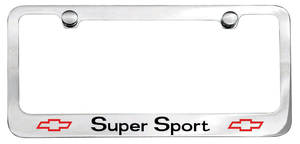 License Plate Frame, Designer Super Sport (Block) w/Bowtie