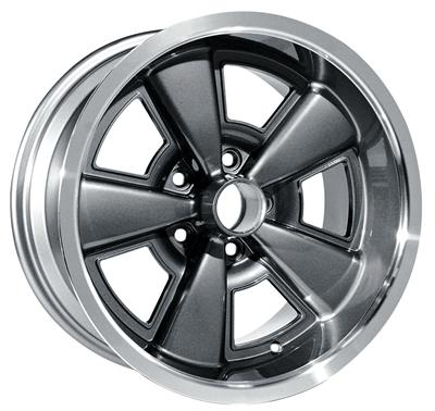 "1971-72 Chevelle Wheel, Five-Spoke Rally (Cast Gunmetal Gray Aluminum) Gunmetal, 17"" X 9"" (BS 5-1/8"")"