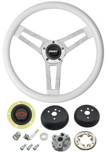 1964-65 El Camino Steering Wheels, Classic Series White Wheel w/Red Bowtie Cap