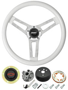 1966 El Camino Steering Wheels, Classic Series White Wheel w/Red Bowtie Cap