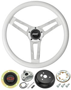 1966 Chevelle Steering Wheels, Classic Series White Wheel w/Blue Bowtie Cap, by Grant