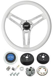 1964-65 Chevelle Steering Wheels, Classic Series White Wheel w/Blue Bowtie Cap