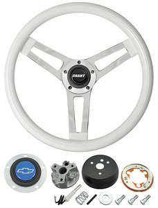 1966 Chevelle Steering Wheels, Classic Series White Wheel w/Blue Bowtie Cap