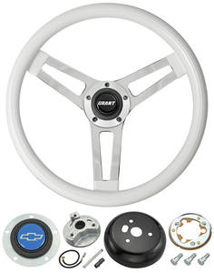 1969-77 Chevelle Steering Wheels, Classic Series White Wheel w/Blue Bowtie Cap, by Grant